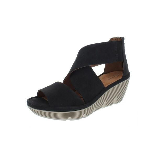 ae0a6d3834 Clarks Womens Clarene Glamour Wedge Sandals Nubuck Ankle - 7 Medium (B,M)