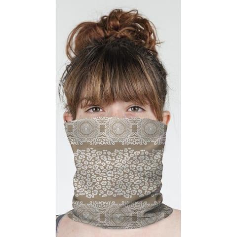 """MINGLEOPARD BEIGE & WHITE Neck Gaiter By Kavka Designs - 10"""" x 18"""""""