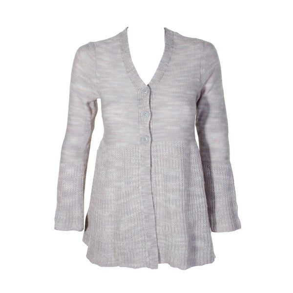 39d1ca8ecf99d Style Co Plus Size Heather Grey White Space Dye Triple Button Peplum  Cardigan PP