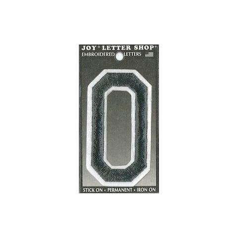 "Joy Applique Letter Iron On Varsity 3"" Black O"