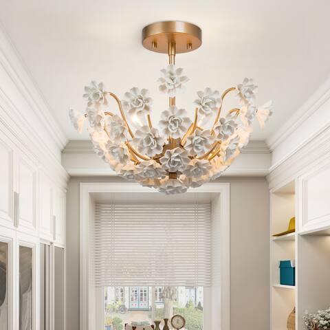 "Glam Gold 3-light Semi-flush Mount Ceramic Chandelier Ceiling Lights for Dining Room - D15.7""xH13.5"""