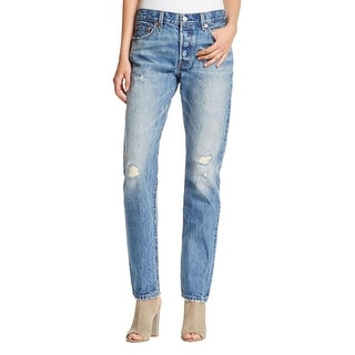 Levi's Womens 501 Straight Leg Jeans Destroyed Button Fly