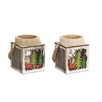 Club Pack of 12 Wooden Brown and Green Decorative Winter Scene Lantern 7""