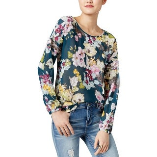 Guess Womens Remy Blouse Crepe Floral Print