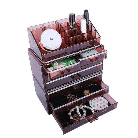 3Pcs/Set Plastic Cosmetics Storage Rack Transparent 5 Large & 2 Small Drawers Coffee