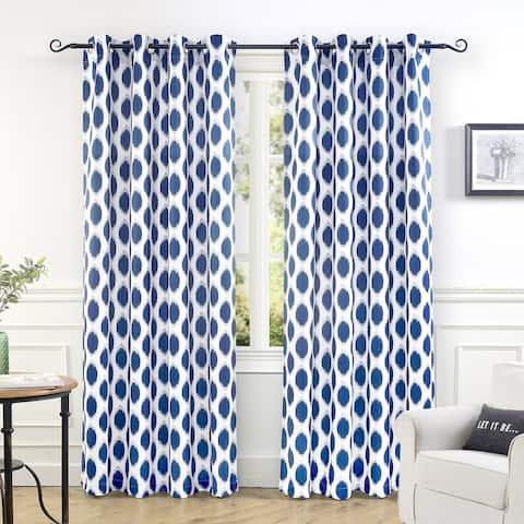 DriftAway Allen Ikat Polka Dot Room Darkening Window Curtain Panel Pair