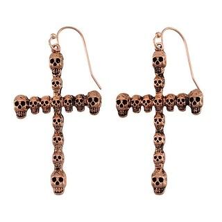 Gothic Skull Cross Dangle Earrings Rose Gold Copper Color