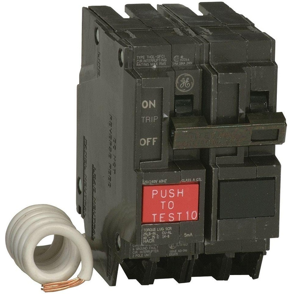 GE THQL2130GFTP Double Pole Ground Fault Breaker, 30 Amp