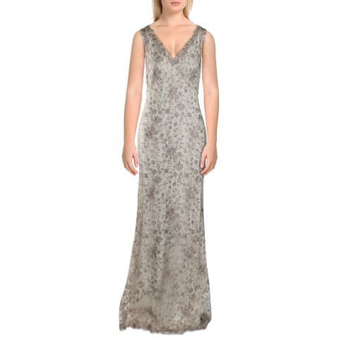 Tadashi Shoji Womens Evening Dress Embroidered Sleeveless - Champagne