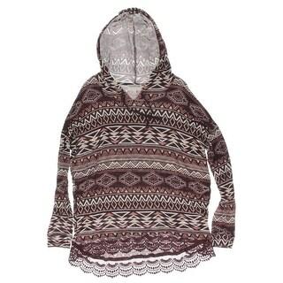 Freshman Forever Womens Juniors Pullover Top Crochet Hem Hooded