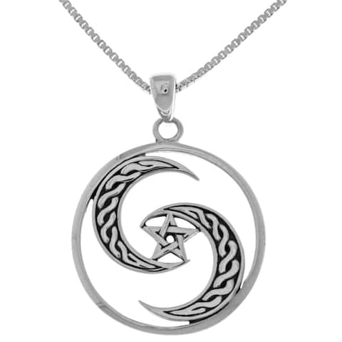 Sterling-silver Goddess Celtic Moon/Pentacle Pendant on 18-inch Box Chain Necklace - Silver