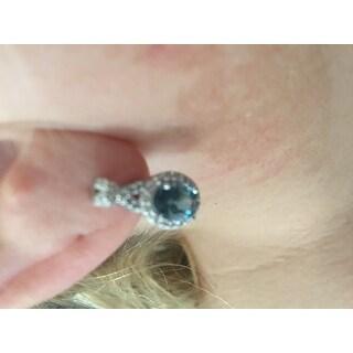 Glitzy Rocks Sterling Silver 3.5ct London Blue & White Topaz X and Oval Drop Earrings