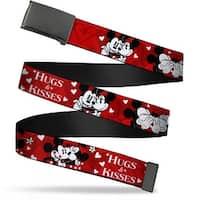 Blank Black Bo Buckle Mickey & Minnie Hugs & Kisses Poses Reds White Web Belt