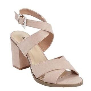 "Julienne Adult Blush Pink Suede 3"" Block Heel Cross Straps Sandals Women"