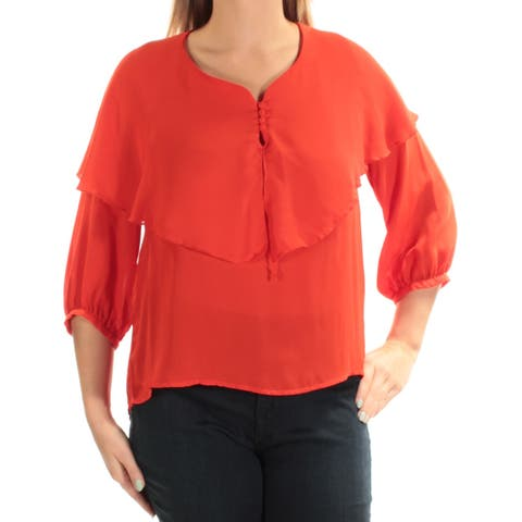 CATHERINE MALANDRINO Womens Orange 3/4 Sleeve Jewel Neck Top Size: L