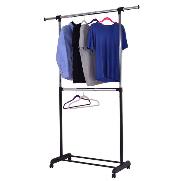 Costway 2 Rod Garment Rack Adjustable Clothes Hanger Rolling Closet Storage  Organizer   As Pic