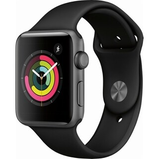 Apple - Apple Watch Series 3 (GPS), 42mm Space Gray Aluminum Case with Black Sport Band - Space Gray Aluminum