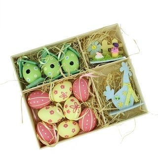 Set of 13 Pink, Blue, Green and Yellow Easter Egg, Birdhouse and Rooster Spring Decorations - N/A
