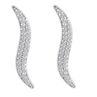 Amanda Rose Cubic Zirconia Ear Crawlers in 14k White Gold