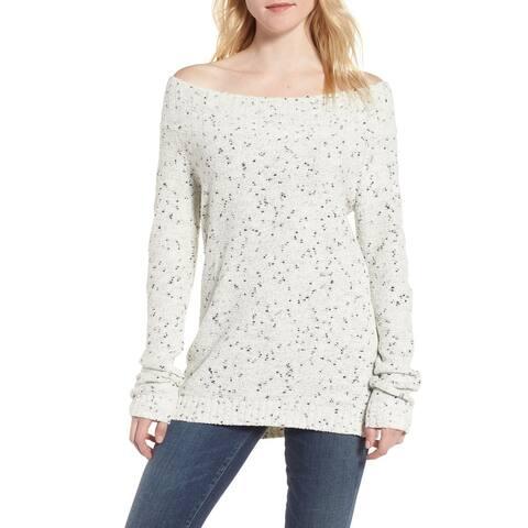 Hinge Women's Off-Shoulder Rib-Knit Trim Sweater