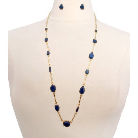 Long Necklace-Navy Blue Tear Drop Inset Jewelry Set