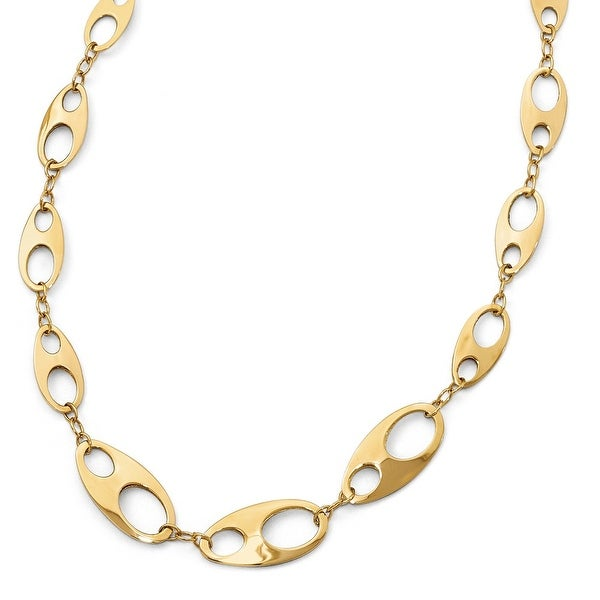 Italian 14k Gold Polished with 2in ext. Necklace - 18 inches