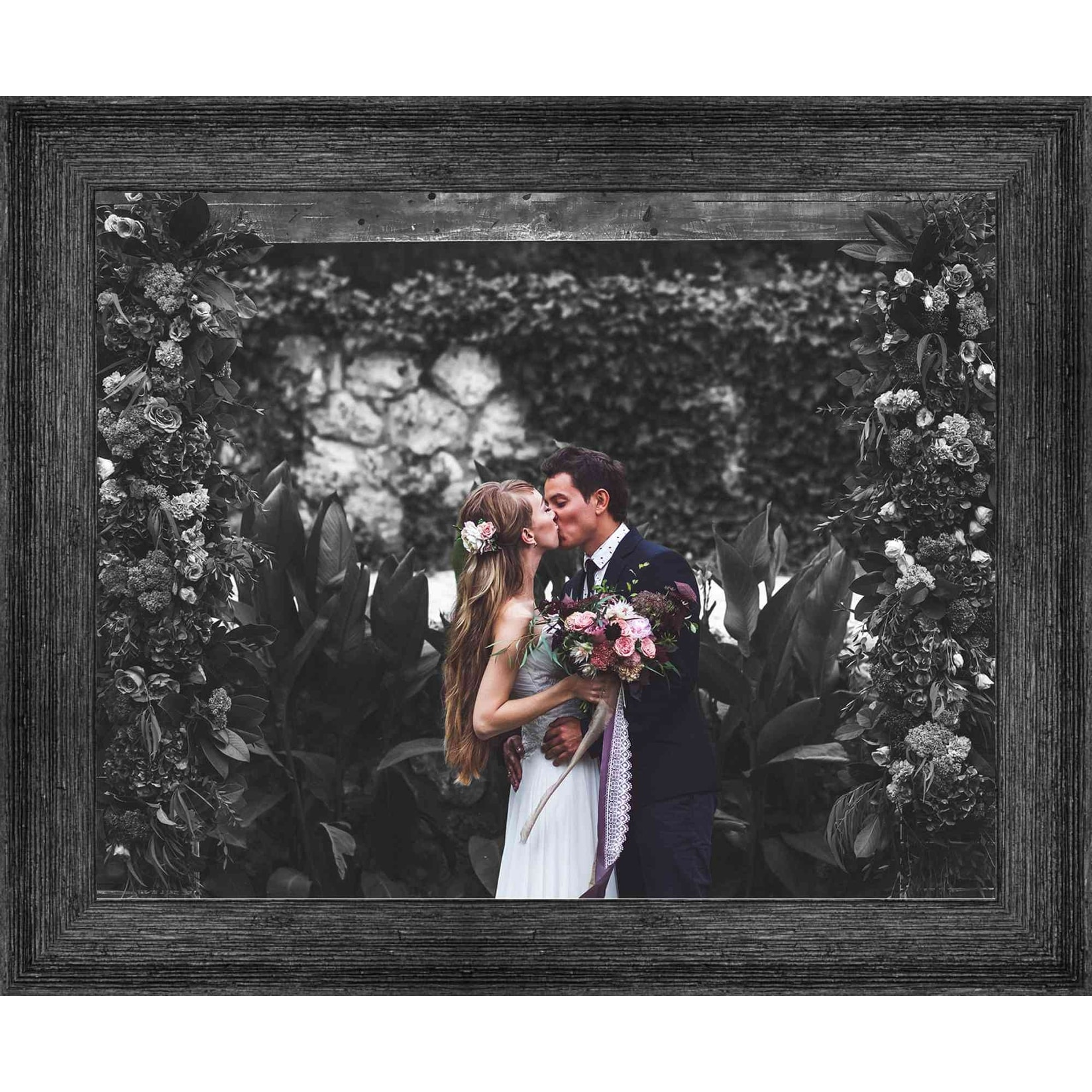 15x28 Black Wood Picture Frame With Acrylic Front and Foam Board Backing