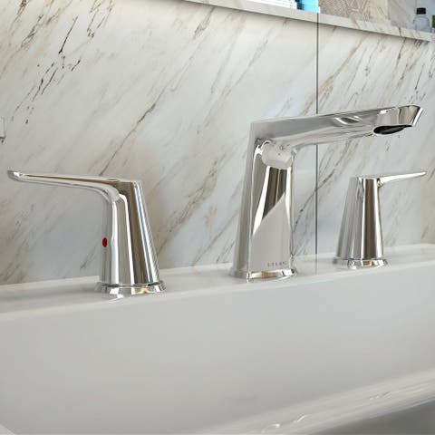 Bora Bora Collection. Widespread bathroom faucet. Brushed Nickel finish. By Lulani