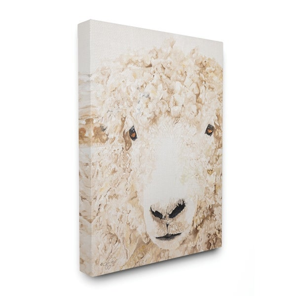 Stupell Industries Sheep Portrait Farm Animal Painting Canvas Wall Art