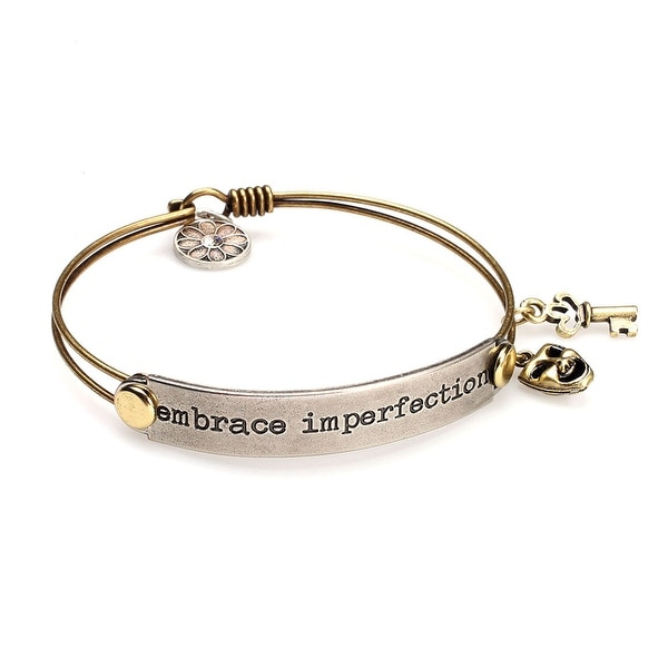 Women's Inspirational Message Brass Bracelet with Charms - Embrace Imperfection