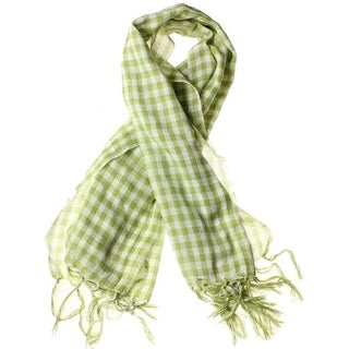 Gingham Check Plaid Blanket Scarf with Fringe