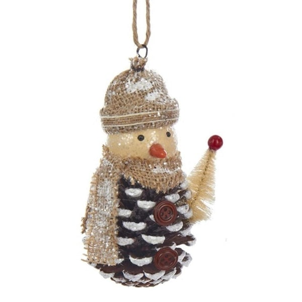"""5.75"""" Decorative Pinecone Snowman with Tan Hat and Scarf Christmas Ornament - brown"""