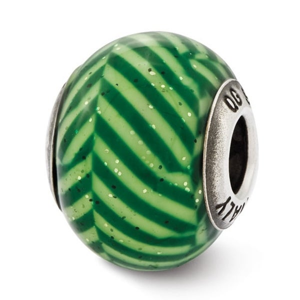 Italian Sterling Silver Reflections Green Stripes with Glitter Glass Bead (4mm Diameter Hole)