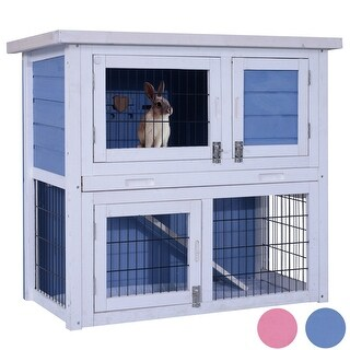"""Lovupet 32"""" Wooden Chicken Coop Rabbit Hutch Small Animal House Pet Cage 0323"""