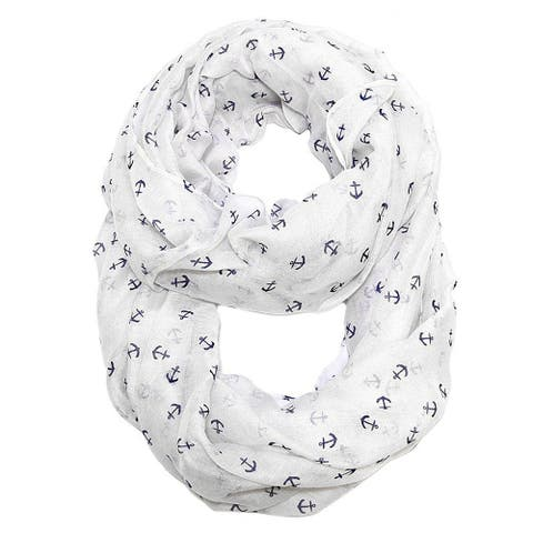 Women's Lightweight Sheer Soft Anchors Infinity Print Scarf - 68 inches x 35 inches circumference