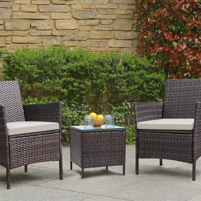 Homall 3 Pieces Patio Porch Furniture Sets PE Rattan Wicker Chairs with Table Outdoor Garden Furniture Sets
