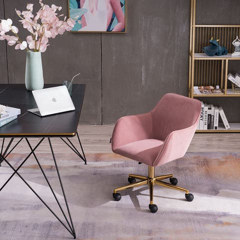 Modern Velvet Pink Material Adjustable Height 360 Revolving Home Office Chair with Gold Metal Legs and Universal Wheel