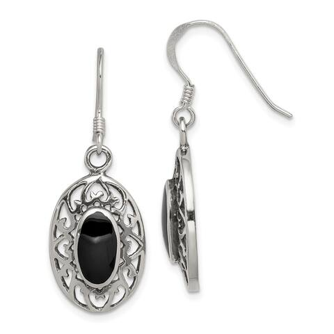 925 Sterling Silver Oval Black Agate Antiqued Earrings (L-33 mm, W-13 mm)
