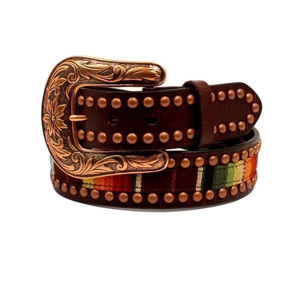 Ariat Western Belt Womens Serape Fabric Leather Copper Studs