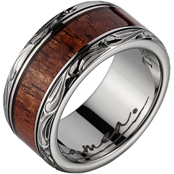 Titanium Wedding Band with Koa Wood Inlay & Leaf Designed Edges 10mm