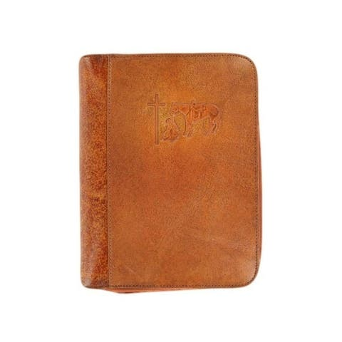 Nocona Western Bible Cover Cowboy Prayer Cross Marbled Brown 0