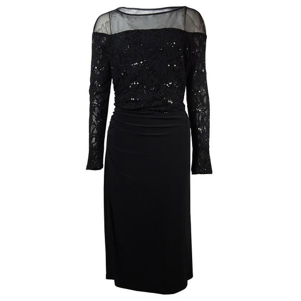 Lauren Ralph Lauren Women's Illusion Lace Jersey Dress - Black