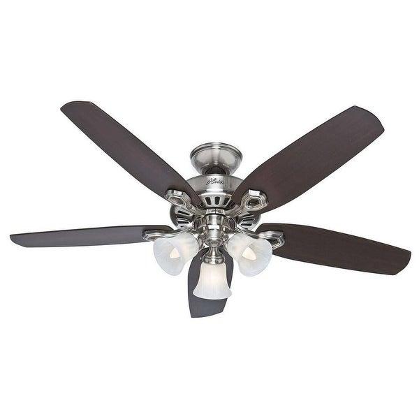 """Hunter Fan 53237 Builder Plus Ceiling Fan With Light, Brushed Nickel, 52"""""""