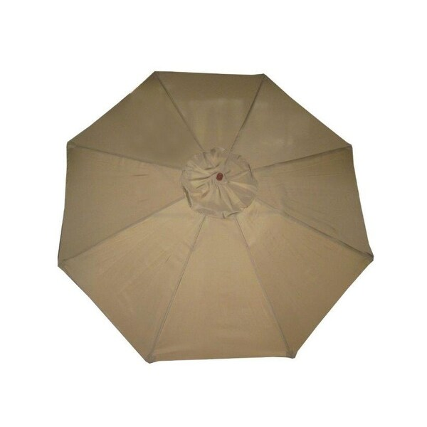 9' Outdoor Patio Market Umbrella - Beige Taupe and Cherry Wood