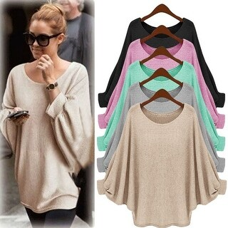 Womens Oversized Batwing Knitted Pullover Loose Sweater Tee Tops