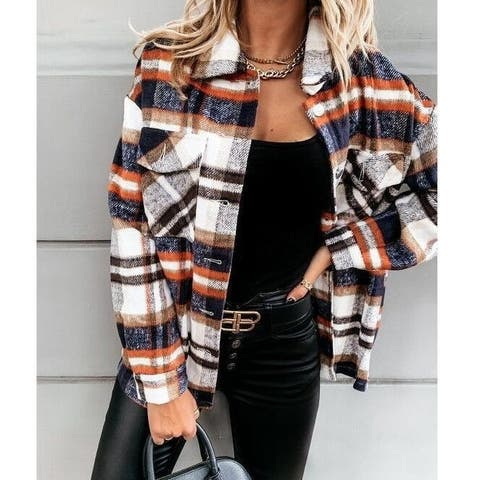 Flannel Plaid Casual Loose Classic Button Down Shirt