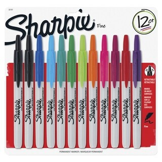 Sharpie Retractable Permanent Marker, Fine Tip, Assorted Color, Pack of 12