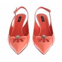 Dolce & Gabbana Pink Leather Crystal Slingbacks Heels Shoes - 37