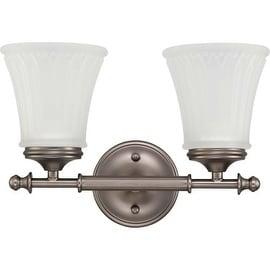 Nuvo Lighting 60/4012 Teller Two Light Bathroom Fixture with Frosted Etched Glass - aged pewter
