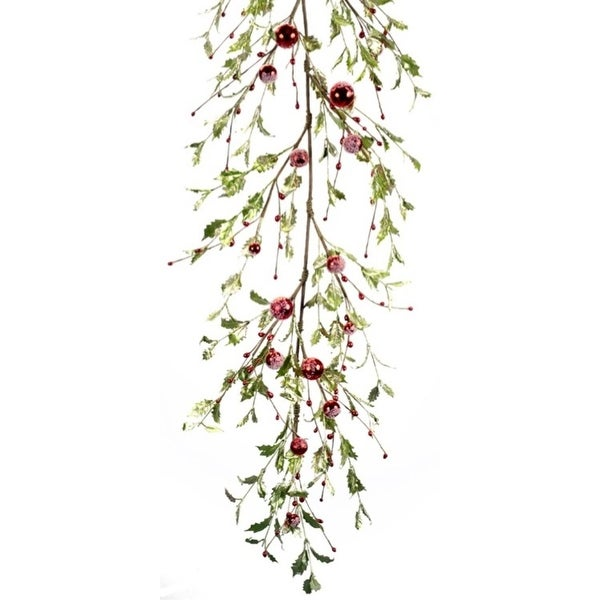 """Pack of 2 Green and Red Iced Holly Berry Artificial Christmas Garlands 61"""""""